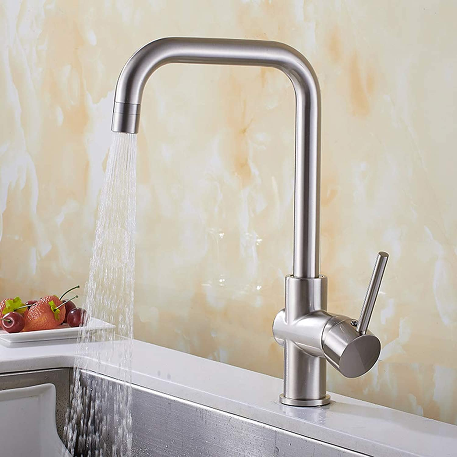 JRUIAN Brushed Kitchen Sink Mixer Tap 360° Swivel Single Lever Brass Two Jet Types, Silver