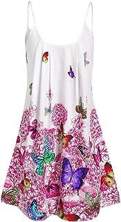 YIhujiuben Womens Spaghetti Strap Sundress Sleeveless Beach Slip Dress