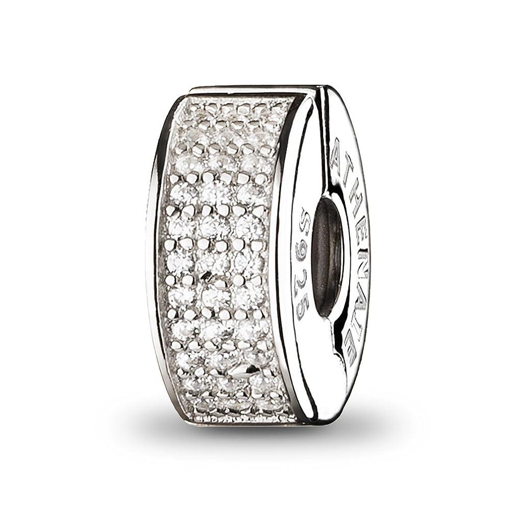 ATHENAIE?925?Silver Clip Spacer Pave Blue CZ Enamel Charm Fit?All?European?Bracelets Necklace (White)