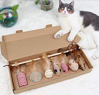 Shengshou 猫用おもちゃ 猫じゃらし ネコ ペット 歯磨き 噛むおもちゃ 羽のおもちゃ 釣り竿 ねずみ 天然羽 天然鳥の羽棒 運動不足解消 猫遊び ストレス解消 7点セット