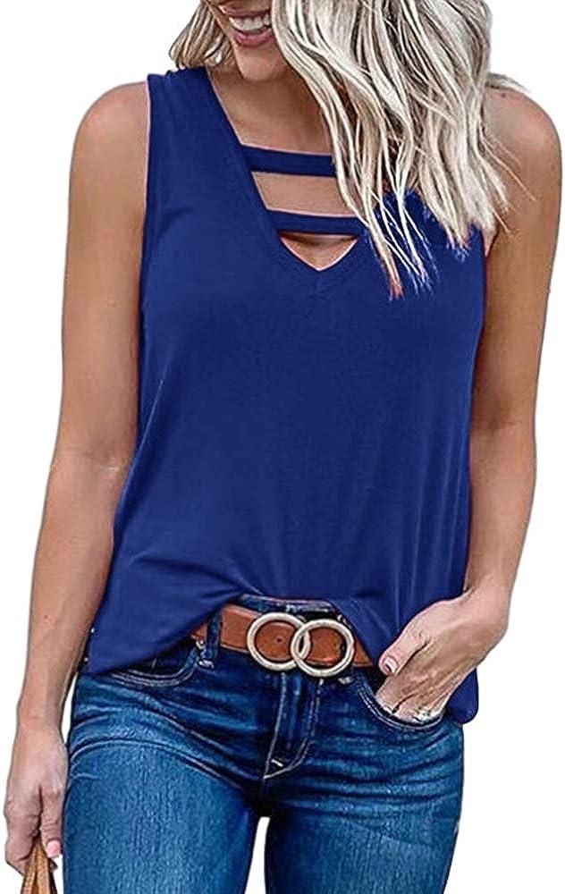 BRUBOBO Womens V Neck Tank Tops Summer Sleeveless Solid Cutout Basic Tunic Tee Shirts