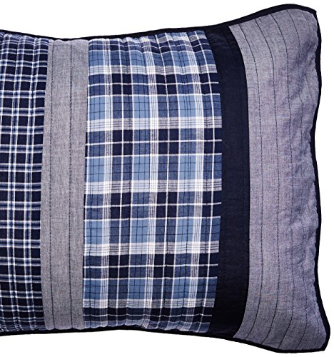 Nautica Home | Adleson Collection | 100% Cotton Quilted Accent Standard Sham, Envelope Closure, Pre-Washed for Added Softness, Easy Care Machine Washable, Blue/Grey