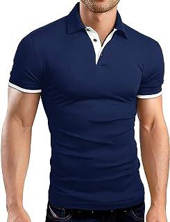 Mens Slim-Fit Long Sleeve Polo Shirts Casual Basic Designed Cotton Shirts
