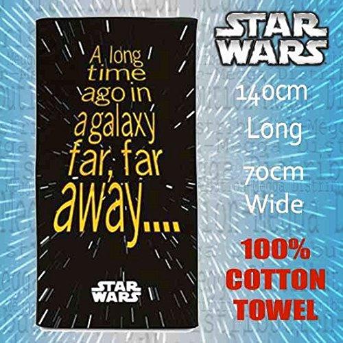 Star Wars - telo mare grande, per adulti/bambini, per ginnastica, sport e non solo, 100% cotone, Nero , One Pack