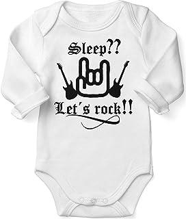 Mikalino Babybody mit Spruch für Jungen Mädchen Unisex Langarm Sleep let s Rock | handbedruckt in Deutschland | Handmade with Love