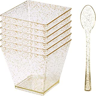 50x2 2oz Mini Gold Glitter Clear Dessert Cup with Spoon- Disposable Plastic Square Cube/Mini Tumbler Cups For Parfaits Puddings Tiramisu Mousse Ice cream Dessert Buffet Shooter