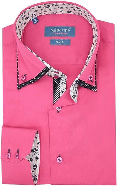 Hombre Camisa Slim Fit Color Rosa Fucsia Doble Collar Flor ...