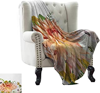 cool weighted blanket adult Anemone Flower,Garden Rose Dahlia Forest Meadow Bedding Plants Leaves Mix,Salmon Fern Green Khaki Throw Lightweight Cozy Plush Microfiber Solid Blanket 30