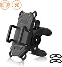 ihens5 Bike Phone Mount,Bicycle Cell Phone Holder,Universal Motorcycle Handlebar Mic Stand Sroller Golf Cart Phone Holder with Rotation Adjustable Silicone Bands for iPhone X,8,7 Plus,Galaxy