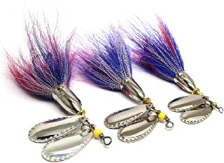Inline Spinner Bait 3 Assorted Double Blade Bucktail Fishing Lures Blue Yellow Spinnerbait Spoon Bait Freshwater Fishing Lure for Big Bass Musky Northern Pike Hard Lures