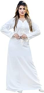 Egypt Cotton Islamic Abaya Off White Dress Hajj Umrah Kaftan Woman Hijab Jilbab