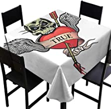 StarsART Round Tablecloth Fitted Tattoo,Angel Wings with Skull and Heart Full of Blood Symbol of Real Love Image,Red White and Black D60,Table Cloth Cover Wedding Event Party