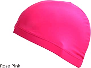 Pure Color Sports Bath Hat Elastic Fabric Swimming Cap Protect Ears Long Hair Cover Free Size