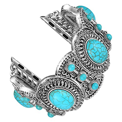 Fastgo for Apple Watch Band, Bohemian Ethnic Antique Style for Iwatch Strap Band With Turquoise for Series3/2/1(42mm)