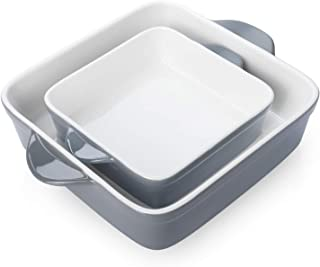 Sweese 514.213 Porcelain Baking DishSet of 2, Square Lasagna Pans, 8 x 8 inch & 6 x 6 inch Non-stick Brownie Pan with Dou...