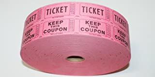 THE TICKET GURUS-Double Raffle Ticket Roll : roll of 2000-(Pink)