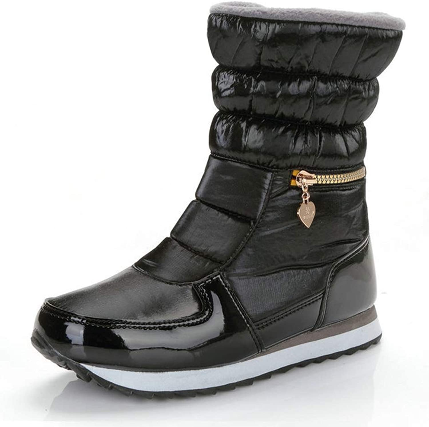 T-JULY Women's Winter Warm Ankle Snow Short Boots with Fur Waterproof Flat Quilted Ladies Casual shoes