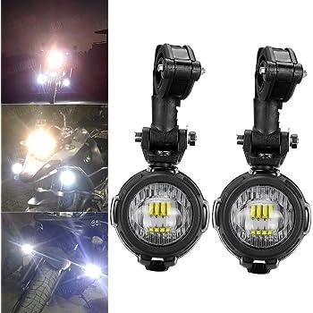 Fancyland LED Feux Additionnels Moto Phare antibrouillard LED Phares Avant Moto Anti Brouillard Projecteur Spot avec Support de r/églage Universel /à 360 /° pour Moto g/én/érale et Moto BMW.