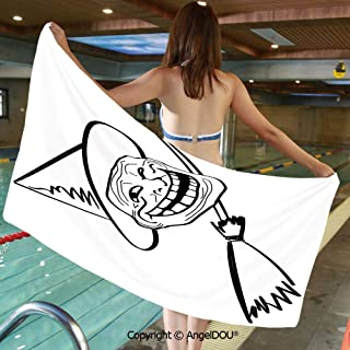 AngelDOU Large Gym Sport Swimming Pool Towel Halloween Spirit Themed Witch Guy Meme LOL Joy Spooky Avatar Artful Image Microfiber Beach Towel Women Men.W19.6xL39.3(inch)