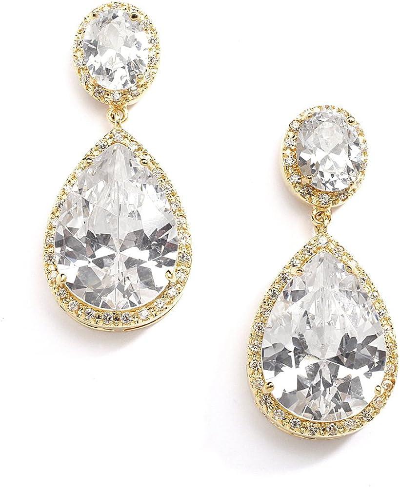 Mariell Pierced or Clip-On Bridal Earrings with Oval-Cut Framed Halos & Bold Pear-Shaped Teardrop Dangles