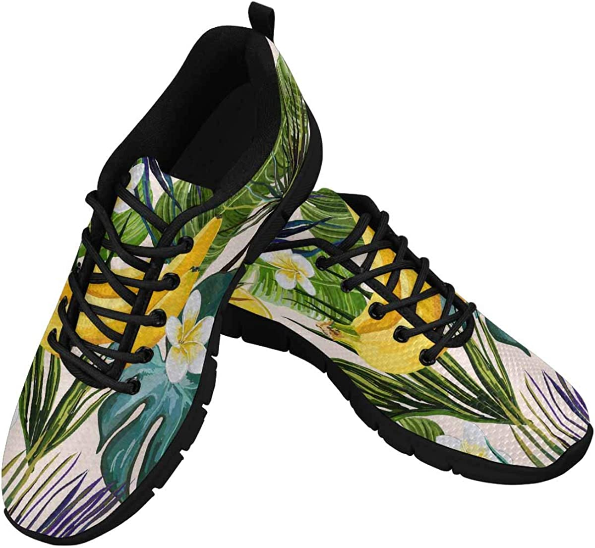 InterestPrint Tropical Palm Leaves Flowers Banana Lemon Women's Lightweight Athletic Casual Gym Sneakers