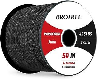 Brotree 3mm Paracord Nylon Seil mit 3 Strängen Fallschirmschnur Reißfestem Kernmantel Seil Standard, Reflektierende
