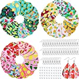 25 Pairs Pre-Cut Fruit Faux Leather Earring Making Kit, Pineapple Watermelon Strawberry Pattern Leather Teardrop Shape Fabric with Earring Hooks, Jump Rings and Ear Plugs for DIY Earring Craft Making
