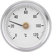 CUHAWUDBA Ts-W50A Termómetro Tubería de Agua Caliente Termómetro Bimetal Acero Inoxidable Tubería de Superficie Medidor de Temperatura con Clip