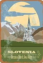 OSONA Slovenia Dreznica Church,Soca Valley Retro nostálgico tradicional Rust Color Tin Logo publicidad llamativa decoración de la pared regalo