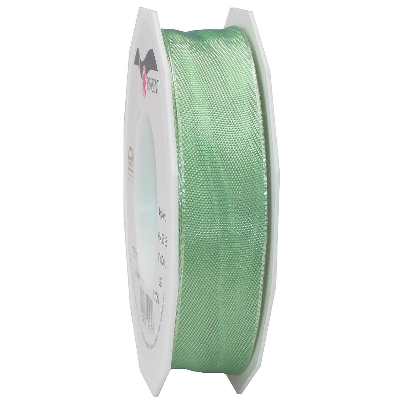 Morex Ribbon French Wired Lyon Ribbon, 1-Inch by 27-Yard Spool, Mint Green