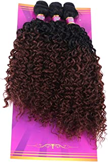 3 Bundles Kinky Curly Synthetic Hair Weave 16 18 20 Inches Mixed T1/33# High Temperature Heat Resistant Fiber