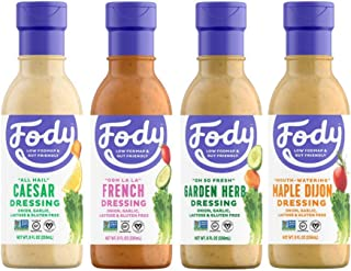 Fody Food Co, Salad Dressings Variety Pack, Low FODMAP and Gut Friendly, Gluten and Lactose Free, Garlic and Onion Free, 4 Count