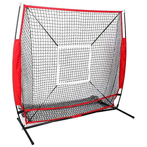 WETERS Baseball-Trainingsnetz, beweglichen im Freien Baseball Trainings-Praxis Target Net Sporthilfe 5'X5' Net, Baseball Net, Baseball Training Net