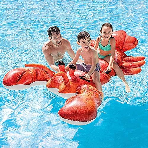QYHSS Agua de natación inflable Natación para niños, Anillos de natación, Balsa de natación, Juguete de piscina de playa Rojo, 213 x 137 cm