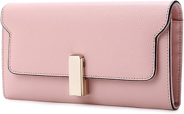 Wallet Female New Wallet Long Leather Clutch Bag Multifunction Wallet (color   PINK, Size   19.5  10.5  3cm)