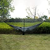 Hamaca al aire libre Cremallera gancho caminata bug mosquito accesorios 360 grados protección hamaca neta fácil uso al aire libre separación ligero ligero para Patio Yard Garden ( Color : Black )