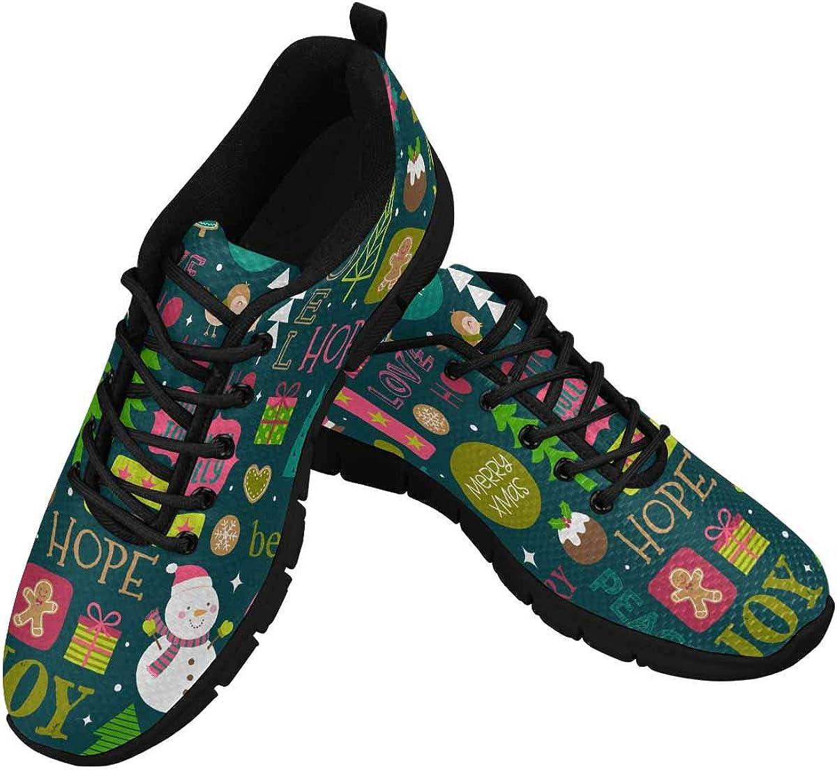 INTERESTPRINT Cute Christmas Elements Women's Breathable Sneaker