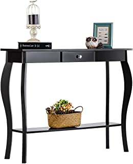 ChooChoo Narrow Console Table for Entryway, Silm Sofa Table with a Drawer and Wood Curved Legs, Tall Entryway Table for Hallway, Easy Assembly Black