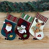 """DoTech 3pcs Las medias de Navidad Decoraciones Papá Noel muñeco de nieve y Alce Navidad Calcetín Caramelo del bolso árbol de Navidad Decoración Ornamentos 9.8""""x5.1"""" (25*13cm)"""