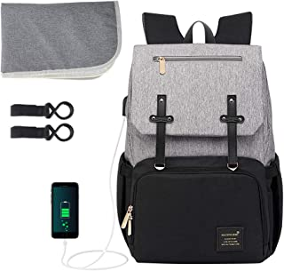 Baby Diaper Bag Backpack, ionlyou Multi-Function Waterproof Diaper Bag Backpack for Mom Built-in USB Charging Port, Durable Premium Oxford Fabric Large Travel Baby Bags W/Pockets,Stroller Straps