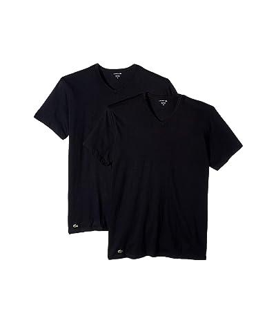 Lacoste Colours 2-Pack Classic Fit V-Neck Tee (Black) Men