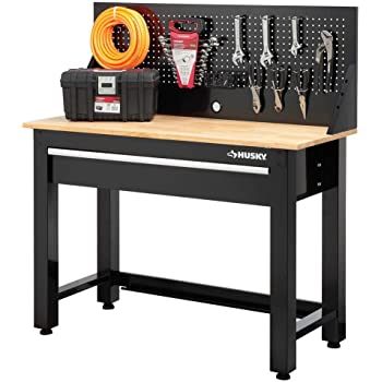 Husky G4801S-US 4 Ft. Solid Wood Top Workbench With Storage