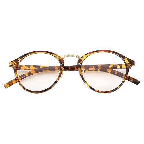 97e051fc7b3 CGID CN65 Vintage Inspired Horned Rim Metal Bridge P3 UV400 Clear Lens  Glasses
