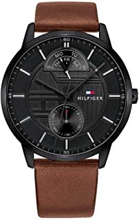 TH WATCH MEN'S BLACK DIAL BROWN LEATHER WATCH - 1791604