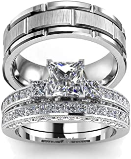 wedding ring set His Hers Couples Matching Rings Women's 10k White Gold Filled Heart CZ Wedding Engagement Ring Bridal Set...