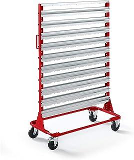 Rayonnage mobile hauteur 1588 mm - rayonnage mobile pour 160 bacs à bec, rouge feu -