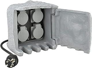 UNITEC Steckdosenverteiler für den Garten in Steinoptik, Gartensteckdose, Außensteckdose, IP 44, 4 Steckdosen Würfel