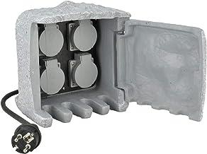 UNITEC Stekkerverdeler voor de tuin in steen-look, tuincontactdoos, buitenstopcontact, IP 44, 4 stopcontacten kubussen