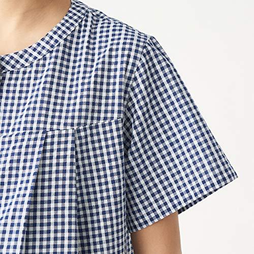 無印良品パジャマ脇に縫い目のないサッカー半袖パジャマ八分丈授乳仕様マタニティレディース82758559ネイビー×チェックM~L
