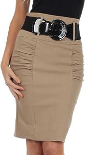 Sakkas Petite High Waist Shirred Stretch Pencil Skirt with Wide Belt